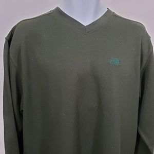 The North Face Mens Size XL V Neck Green Long Slee